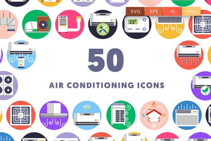 50 Klimatisierungs-Icons