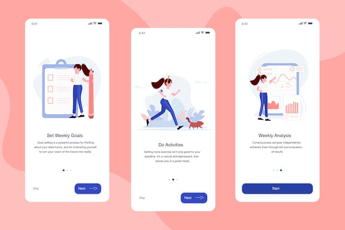 Thumbnail for Running App Onboarding Illustration