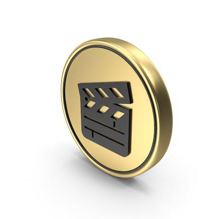 Clapper Board Coin Logo Icon