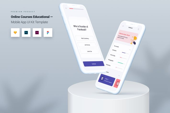Thumbnail for Online Courses Educational Mobile App UI Kit