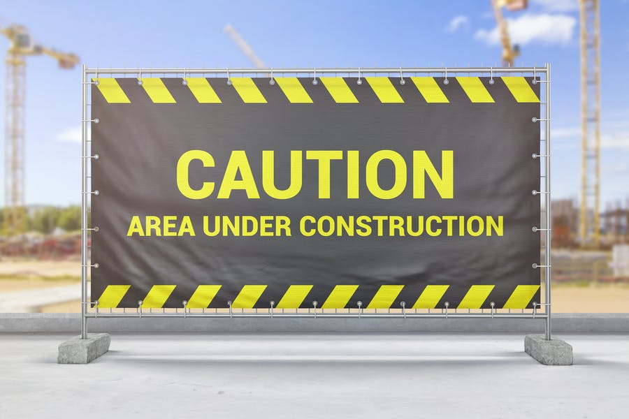 Construction Fence Banner Mockup