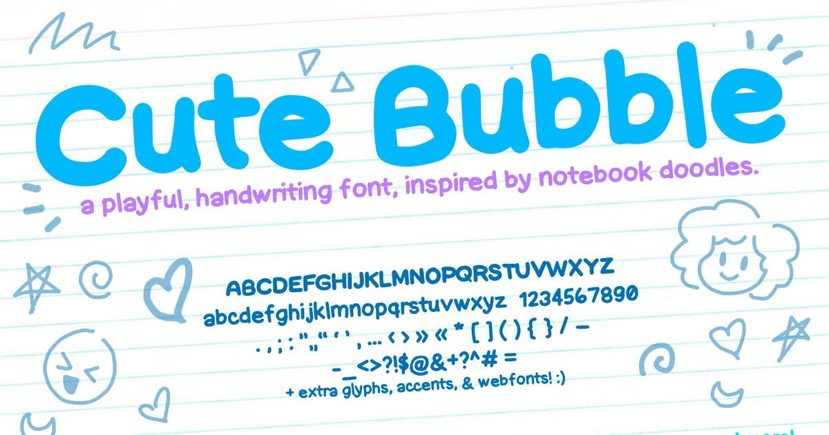 Download Cute Bubble Font (Notebook Handwriting Font) by SunshineFonts