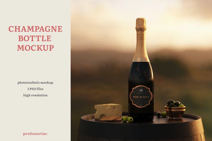 Champagne Bottle Mockup