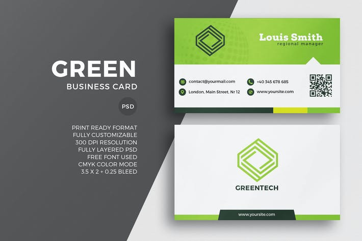 Thumbnail for Green Corporate Business Card Template