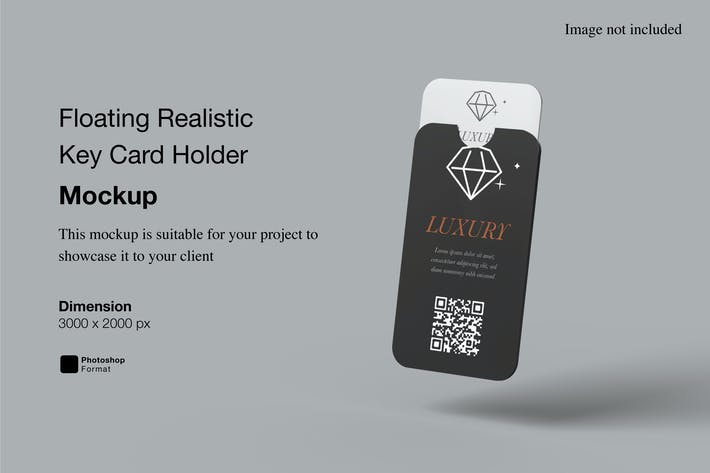 Floating Realistic Key Card Holder Mockup
