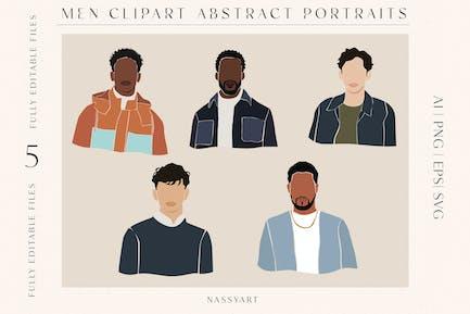 Hombres Portrait Moda Cliparts