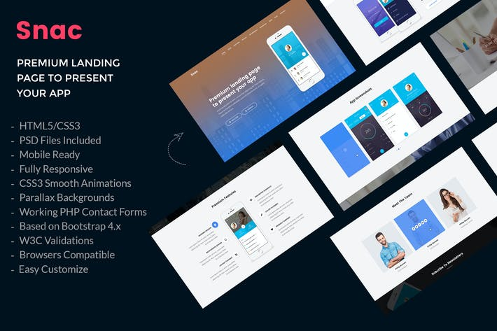 Thumbnail for Snac - Premium App Landing Page HTML5 Template