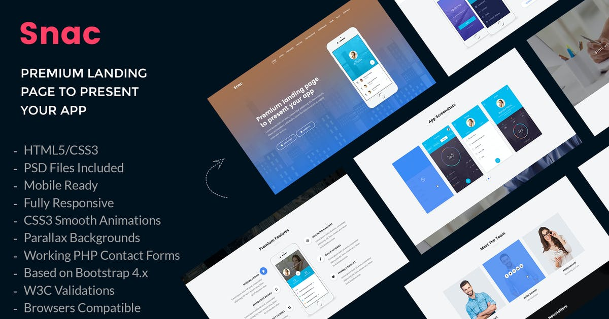 Download Snac - Premium App Landing Page HTML5 Template by AuThemes