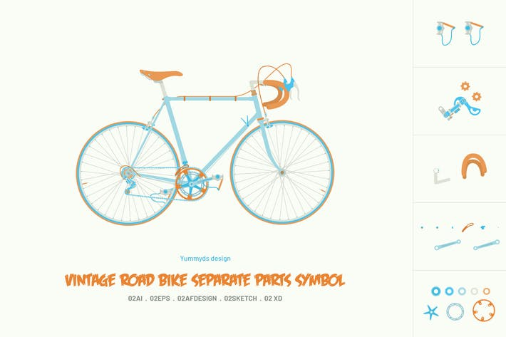 Thumbnail for Vintage road bike separate parts symbol