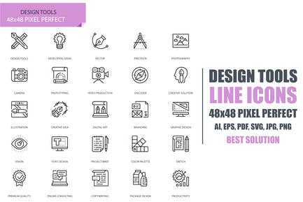 Simple Set Design Tools Line Icons