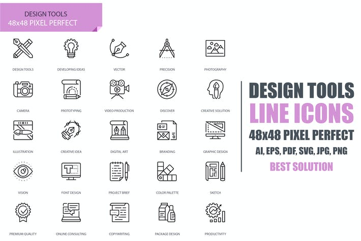 Simple Set Design Tools Line Icons
