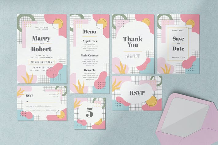 Thumbnail for Wedding Invitation Set - Memphis Design Style