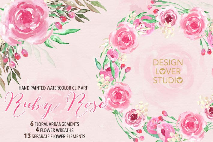 Cover Image For Watercolor Ruby rose floral clipart