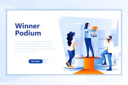 Winner Podium Flat Landing Page Header