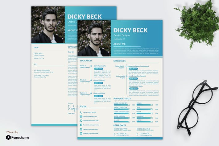 Thumbnail for Dicky Beck - Resume CV Template IS