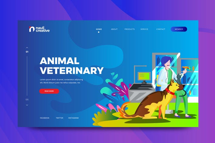 Thumbnail for Animal Veterinary Web PSD and AI Vector Template