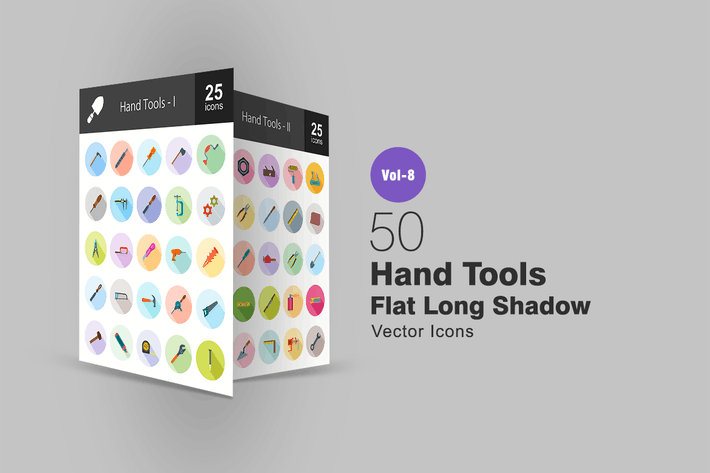 Thumbnail for 50 Hand Tools Flat Shadowed Icons