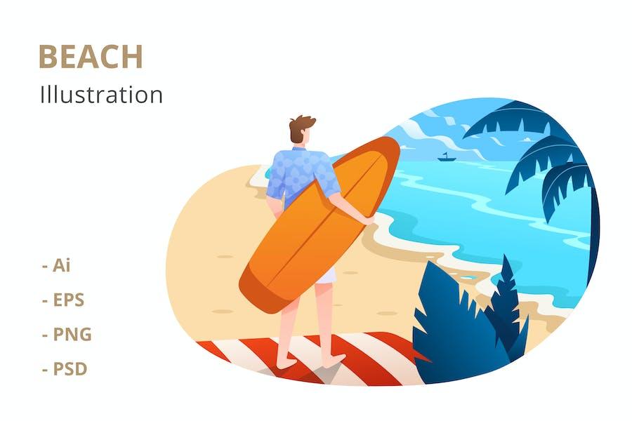 Ilustración de playa