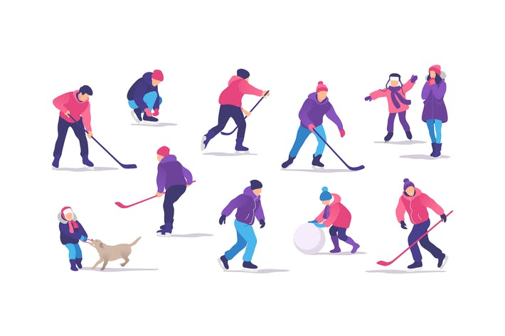 Thumbnail for People on the Ice Rink Playing Hockey