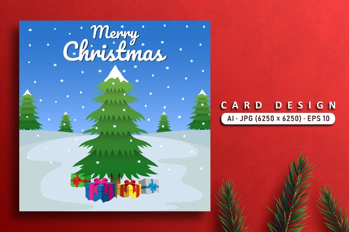 Cover Image For Merry Christmas Vector Card With Pine Trees