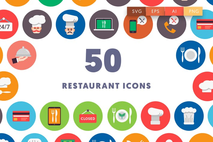 Thumbnail for 50 Restaurant Flat Icons