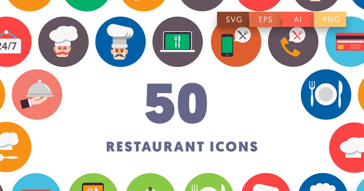 Download 50 Restaurant Flat Icons by thedighital