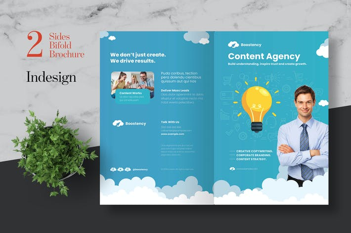 Thumbnail for Clean Content Marketing Agency Bifold Brochure