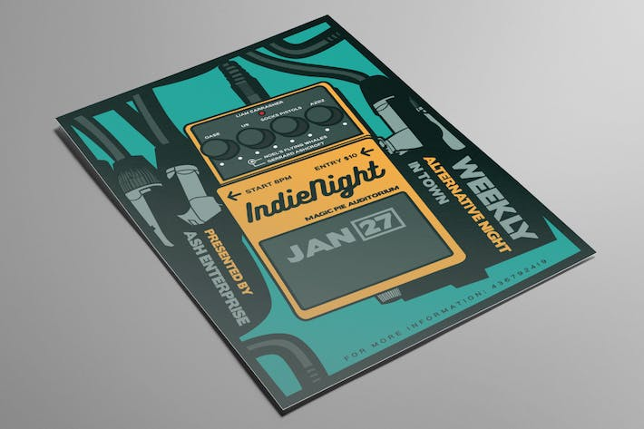 Thumbnail for Guitar Pedal Indie Night Flyer