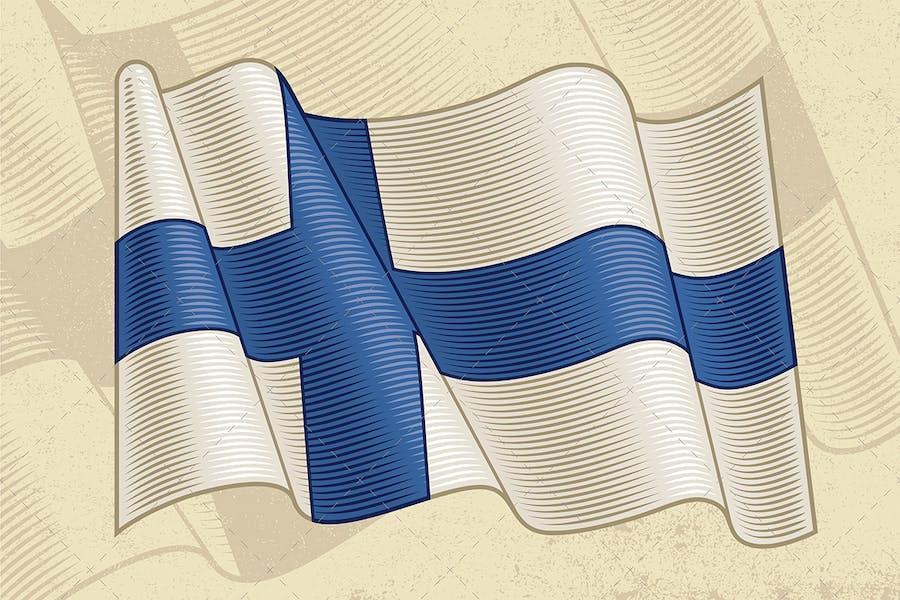Vintage Flag Of Finland