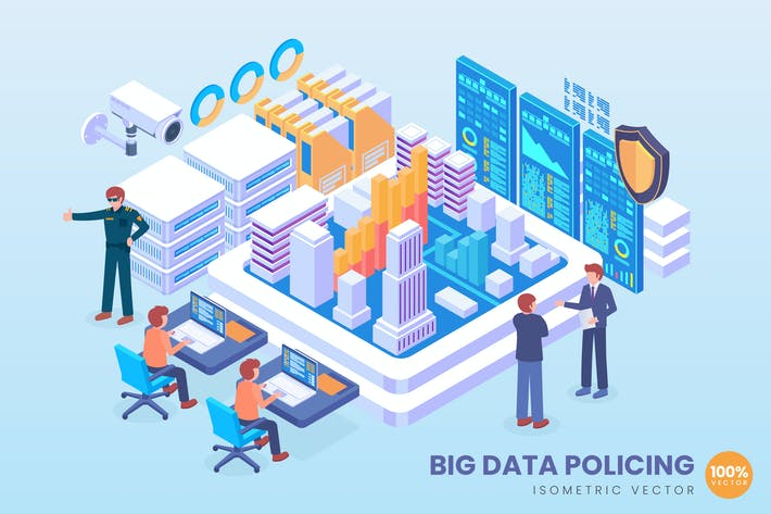 Thumbnail for Isometric Big Data Policing Vector Concept
