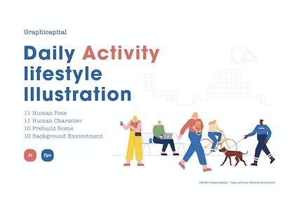 Daily Activity Lifestyle Illustration