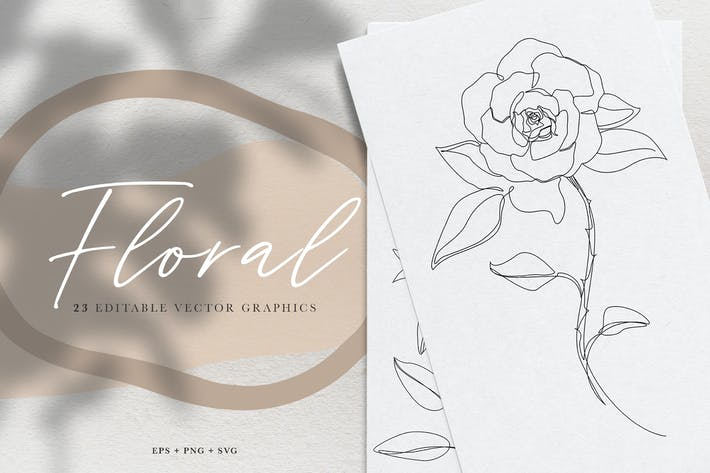 Thumbnail for Floral Vector Line Art