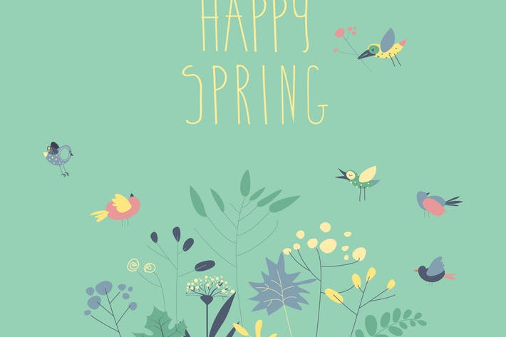 Thumbnail for Vector illustration of a cute birds with spring