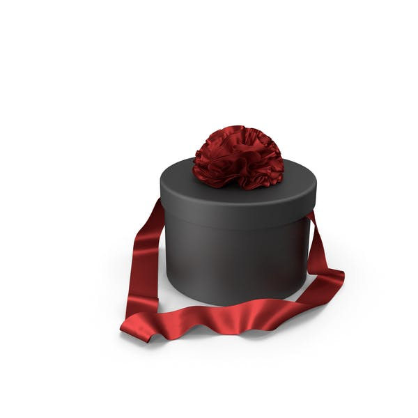 Black Round Gift Box with Red Silk Ribbon
