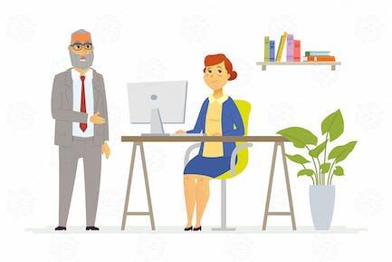 Tough talk with boss - vector illustration
