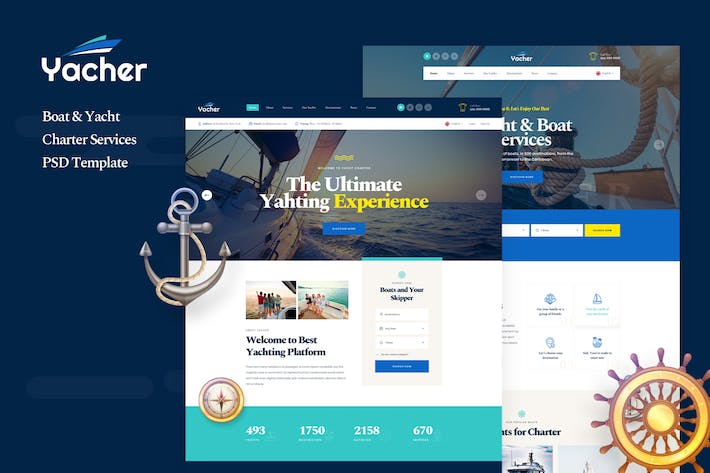 Thumbnail for Yacher - Boat & Yacht Charter Services PSD
