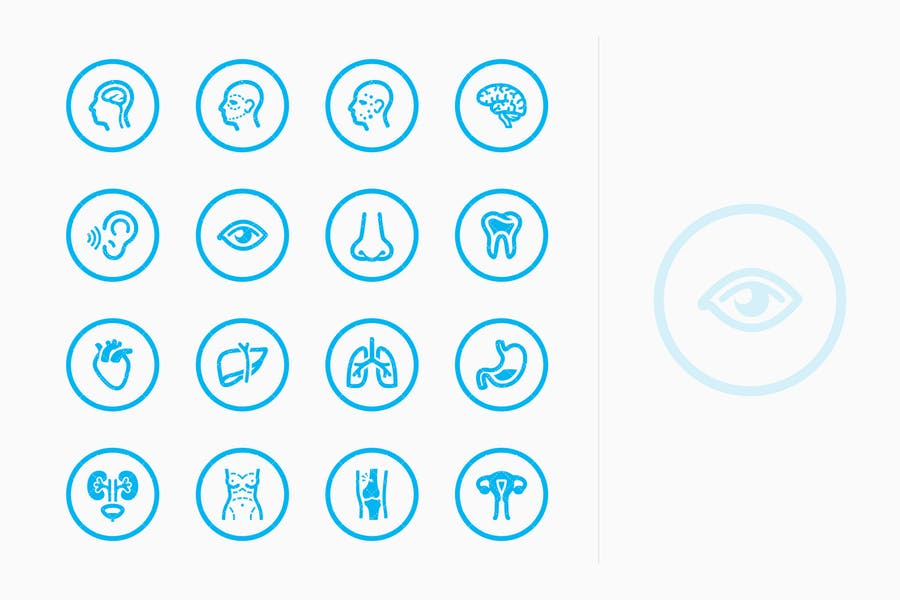 Medical Specialties Icons Set 1 - Blue Circles