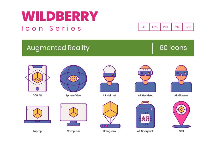 60 Augmented Reality Icons - Wildberry Series