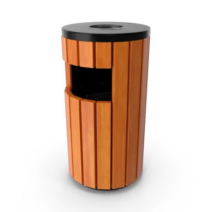 Outdoor Round Trash Bin with Ashtray