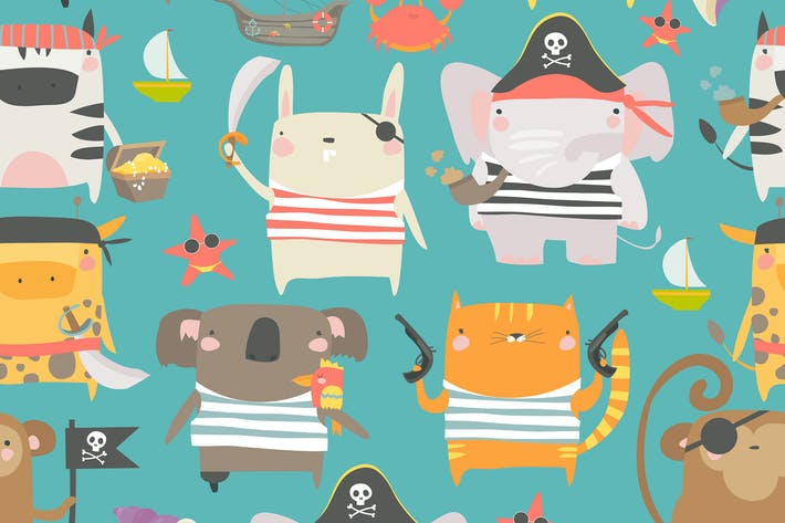 Thumbnail for Vector seamless pattern with cute animals