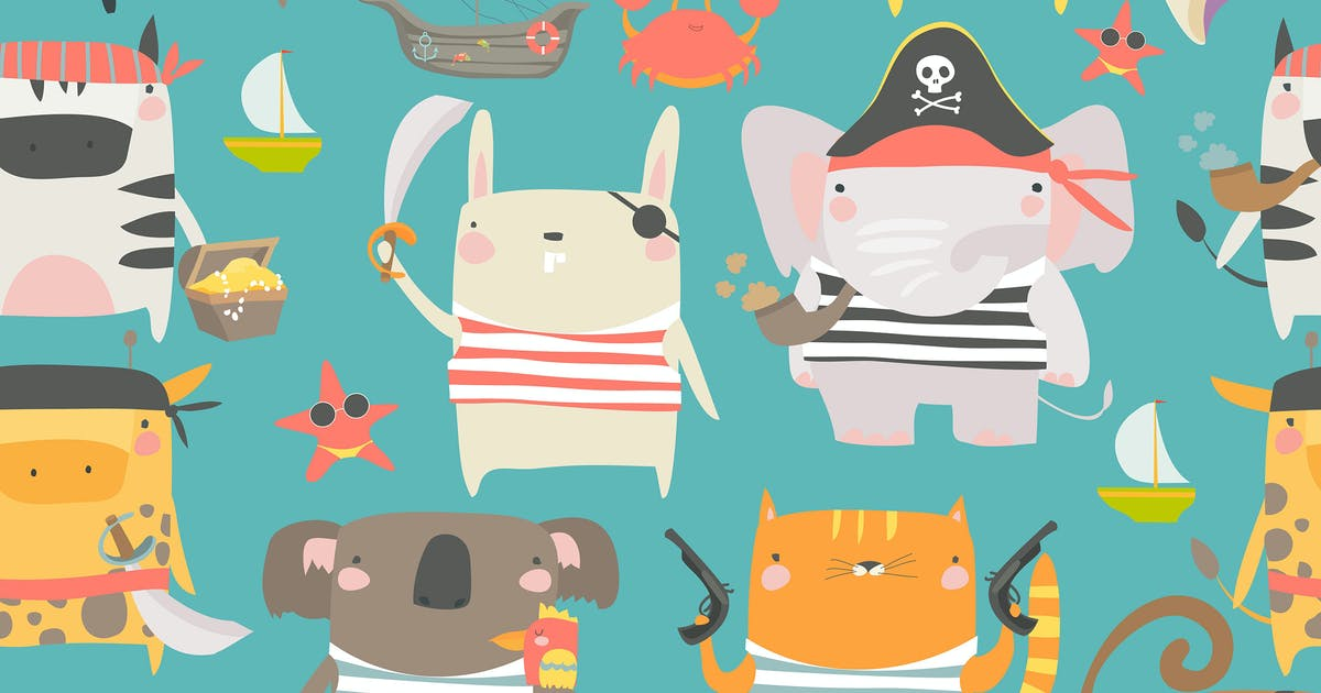 Download Vector seamless pattern with cute animals by masastarus
