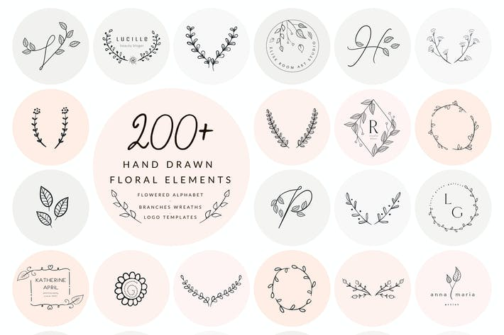 Thumbnail for 200+ Floral Elements~EPS,SVG,PSD,PNG