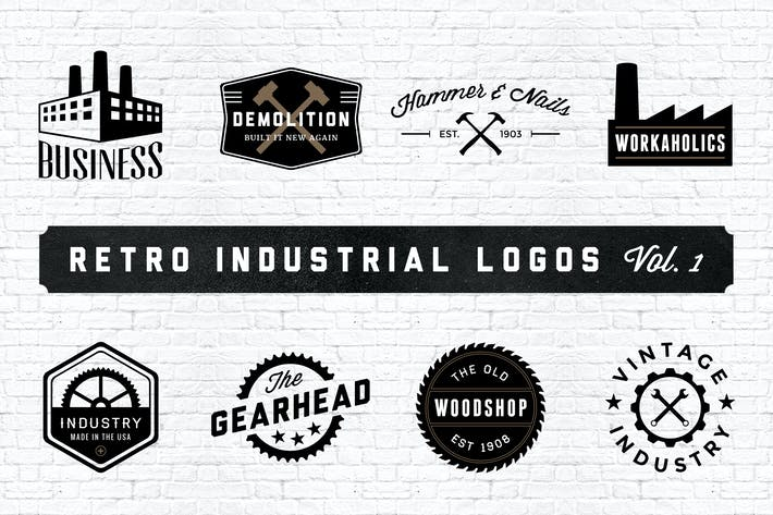 Thumbnail for Retro Industrial Logos - Volume 1