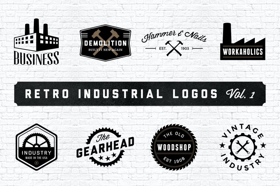 Retro Industrial Logos - Volume 1