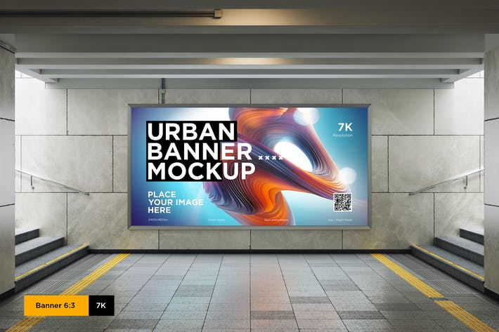 Thumbnail for City Lightbox Banner Mockup in Subway