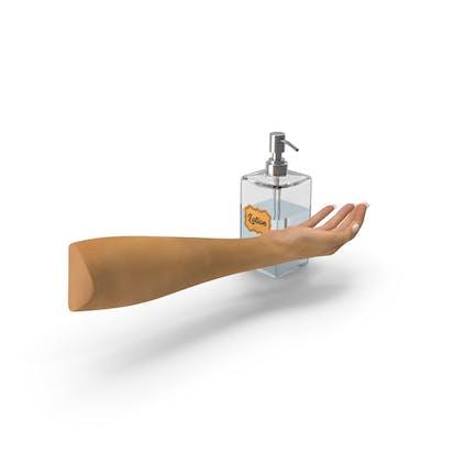 Диспенсер для лосьона с женской рукой