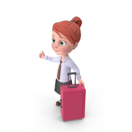 Cartoon Girl Grace Travelling