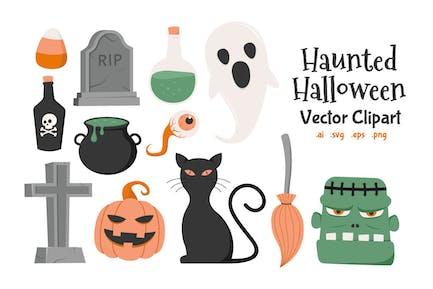 Haunted Halloween Vector Clip Art