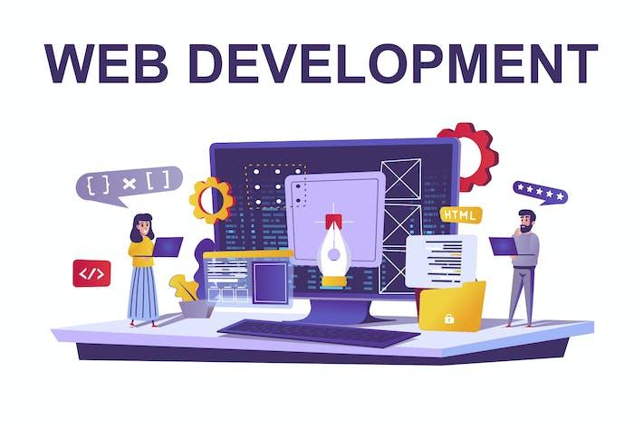 Web Development Web Concept in Cartoon Style