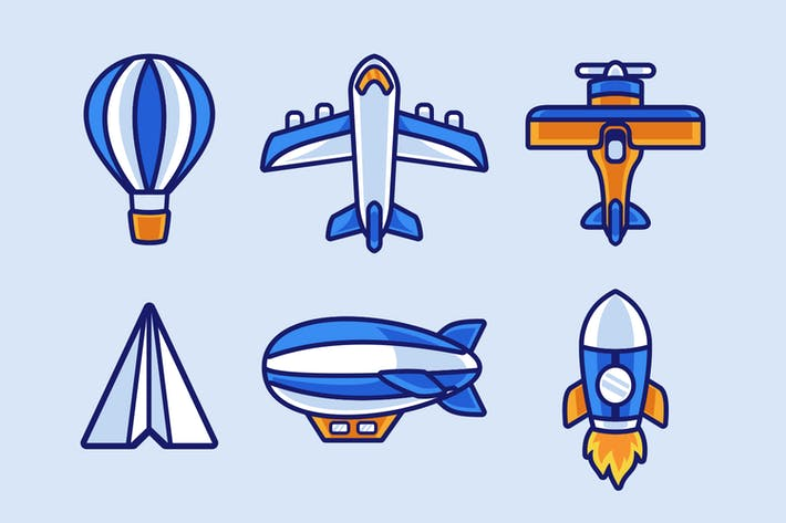 paper plane and air Transportations collection